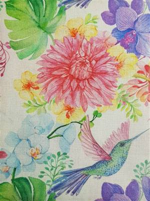 "Colourful Hummingirds Floral Fabric  60"" wide"