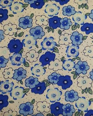 "Blue Poplin Floral Fabric  44"" wide"