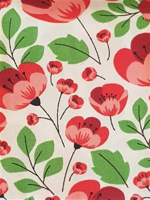 Red/cream Poppy Cotton Poplin Fabric