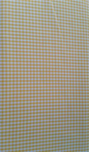 Orangey/yellow Check Cotton Gingham Fabric 56""