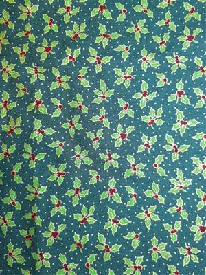 Green & Holly Cotton Christmas Fabric