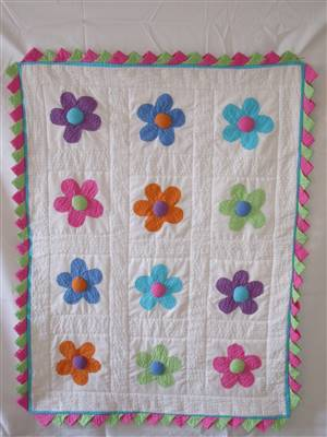 Bright Flower Seersucker Pram Throw/Coverlet Kit
