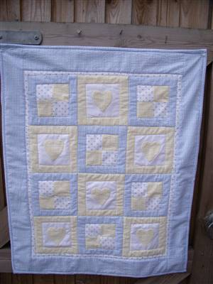 "Heart & Square Pram Throw/Quilt 31"" x 25"" Pattern"