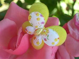 Yellow Pearl Butterfly Fabric Applique