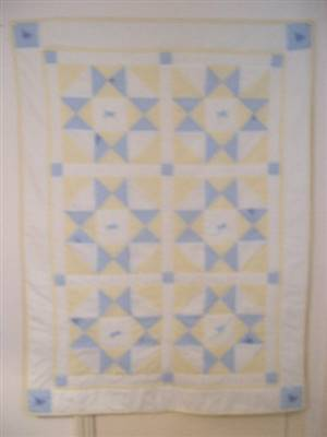 "Yellow/blue Baby Seersucker Patchwork Crib Quilt 34"" x 48"" pattern"