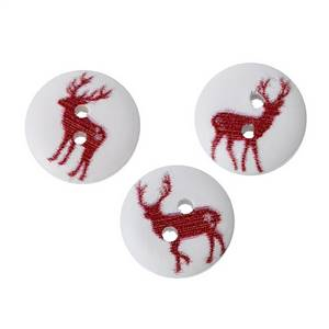 Christmas Wooden Elk Buttons 15mm white + Red