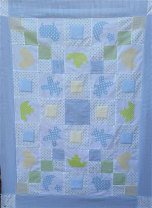"Applique Baby Patchwork Quilt 49""x 37"" Kit"