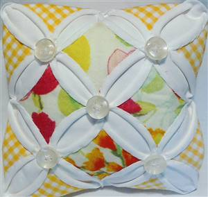 Yellow Floral Cathedral Window Pin Cushion Kit