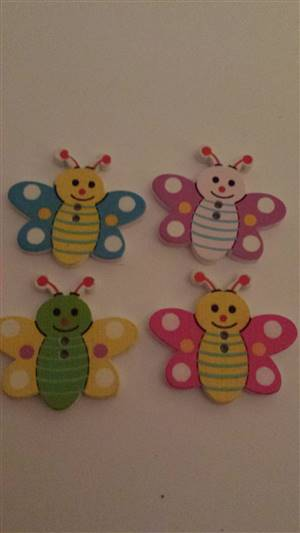 Multicoloured Bee Wooden Button 35 x 22mm