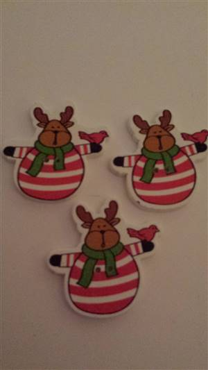 Christmas Reindeer Wooden Button 35mm