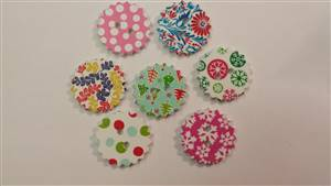Christmas Round Wooden Buttons 24mm