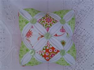 Green/Orange Colour Cathedral Window Pin Cushion