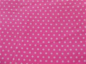 "Pink + White Spot Fine Cord Fabric. 44"" wide"