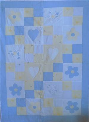 "Blue/Yellow 36"" x 53""  Patchwork Seersucker  Quilt"