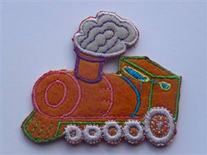 Orange Train Sew/Iron on Patch 60mm