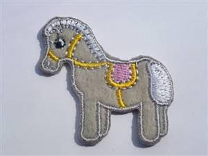 Grey Horse Sew/Iron on Patch 40mm