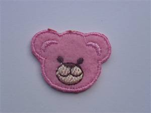 Pink Bear Face Sew/Iron on Patch 30mm