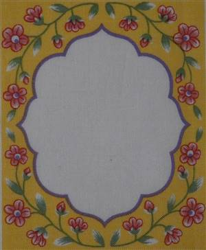 Yellow Floral Printed Quilt Label.