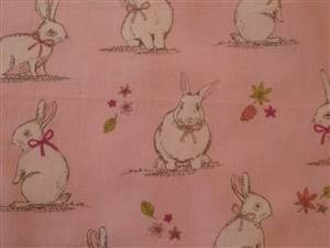 Pale Pink Cotton + Rabbits Fabric