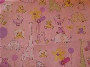 Pink + small animals Cotton Childrens Fabric