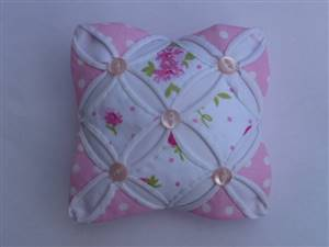 Pink Floral Cathedral Window Pin Cushion Kit