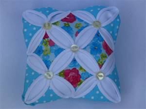 Light Blue Floral Cathedral Window Pin Cushion Kit