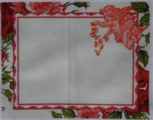 "Red floral cherub Quilt Label.5.5"" x 4.5"""