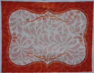 "Orange floral Quilt Label 5.25"" x 4.25"""