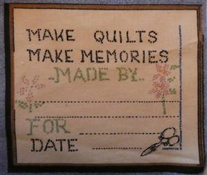 Blue Country Style Border Quilt label. Make memories