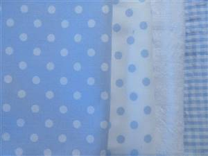 Blue Pastel Cotton/seersucker Fabric Bundle
