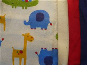 4 Fat Quarters Red/Blue/White Animal Cotton Flannel Fabric