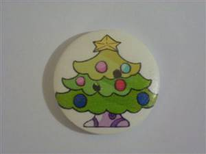 Christmas tree wooden button 30mm