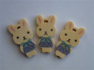 Bunny blue/white Wooden Button. 15mm x 29mm