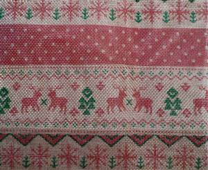 "Christmas Cross Stitch Style Fabric Piece 7"" square"