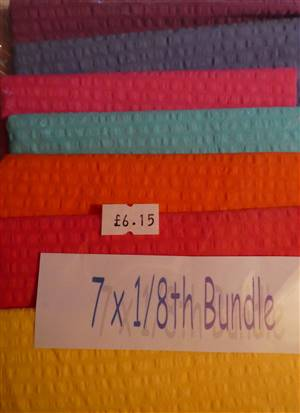 Pack of 7 x 1/8ths Cotton Dyed Seersucker Fabric