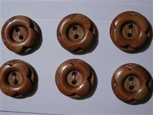 Brown Flower wooden buttons 20mm. set 6