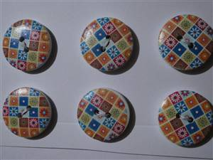 Wooden Buttons, 20mm. set 6