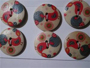 25mm Rustic bird Wooden Button. set 6