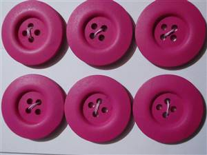 30mm Pink Wood Buttons x 6