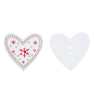Christmas Wooden Heart Buttons 3.3 x 3.5cm white + Red